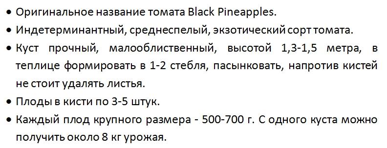 Томат черный ананас характеристика и описание сорта